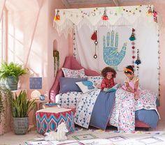 concept - Justina Blakeney Canvas Crochet Canopy -- adapt for boy room Fairytale Bedroom, Fantasy Bedroom, Thrift Store Furniture, Bohemian Interior Design, Arts And Crafts House, Teen Girl Bedrooms, Girl Room, Diy Home Decor, Bedroom Decor