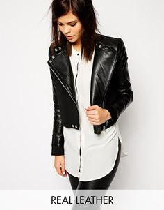 Y.A.S Leather Jacket with Scuba Body