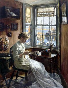 Stanhope Forbes (1857-1947) ~   Harbour Window @@@@......http://www.pinterest.com/mashrie/art5-town-house-people/