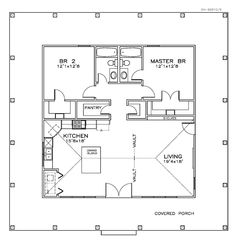 First Floor Plan of Cottage Florida Southern House Plan 57895 Small House Floor Plans, Cabin Floor Plans, Small House Plans Under 1000 Sq Ft, Small Home Plans, 2 Bedroom Floor Plans, Southern House Plans, Southern Homes, Southern Style, Southern Girls