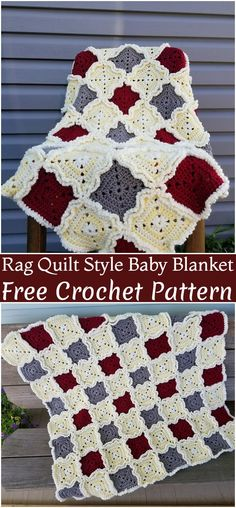 Crochet Rag Quilt Style Baby Blanket Pattern blanket patterns granny square Cozy And Interesting Crochet Blanket Patterns Crochet Afghans, Crochet Quilt Pattern, Rag Quilt Patterns, Granny Square Crochet Pattern, Crochet Blanket Patterns, Baby Knitting Patterns, Crochet Baby, Crochet Blankets, Baby Blankets