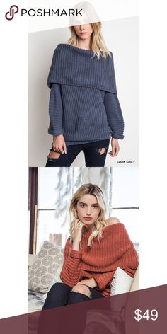 🎉1 HR SALE🎉 Off The Shoulder Ribbed Sweater Chunky knit sweater. So cute and warm! Available in Dark Grey and Brick. Sweaters