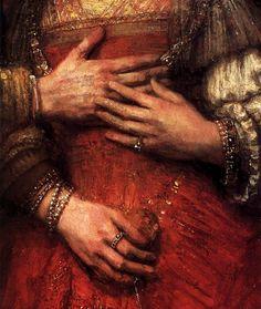 Rembrandt, The Jewish Bride detail