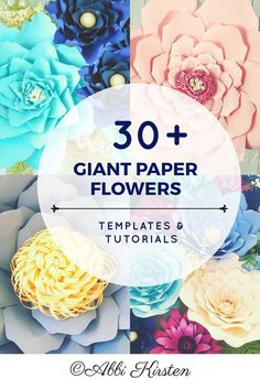 Giant paper flower printable templates. Easy paper flower tutorials. Svg cut files for paper flowers.
