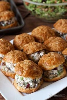 Chicken Salad Gougeres made with a chunky chicken salad with grapes, celery, and pecans in a creamy sauce lightened up by using reduced fat sour cream and mayonnaise.