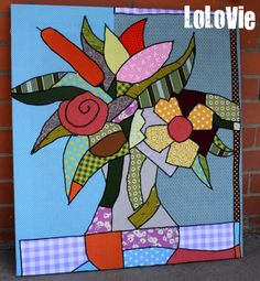 Mom's birthday gift - Painting with fabric (Original work of art by Romero Britto) Art Quilting, Patchwork Quilting, Appliqué Quilts, Flower Quilts, Collaborative Art, Mom Birthday Gift, How To Dye Fabric, Fabric Painting, Craft Items