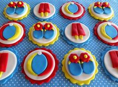 Beach Party Flip Flops, Beach Balls & Double Popsicles Edible Fondant Birthday Cupcake Cake Toppers by TopCakeDecors on Gourmly