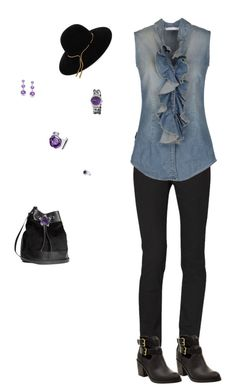 """""""casual with purple accents"""" by daisylwinn ❤ liked on Polyvore featuring Calvin Klein, Aglini, Lanvin, H&M, Akribos XXIV, Miadora and Baccarat"""
