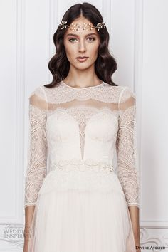 divine atelier 2016 bridal gowns three quarter sleeves illusion jewel deep plunging sweetheart neckline lace bodice romantic tulle a line wedding dress sheer back sweep train (sarah) zv