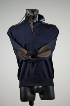 High neck sweater with blue worsted wool patches mg