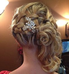braided curly side updo