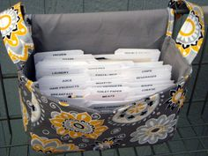 Super Large Size Coupon Organizer / Budget Organizer Holder Box - Attaches to Your Shopping Cart -  Sunshine Floral on Gray. $18.95, via Etsy.