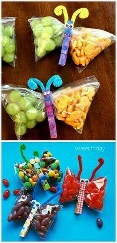 Traktatie snoep en chips vlinder #vlinder #gezond #chips #traktatie