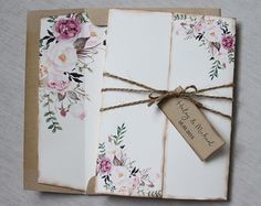 Floral Wedding Invitations Shabby Chic Wedding by LoveofCreating