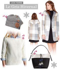 Look Féminin couleur gris spécial hiver 2017 - Manteau Echarpe Béret  Vetement Chaud, Look Féminin f2b2035b05c