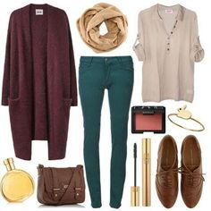 Combo, bag, blouse, loafers, jeans and scarf
