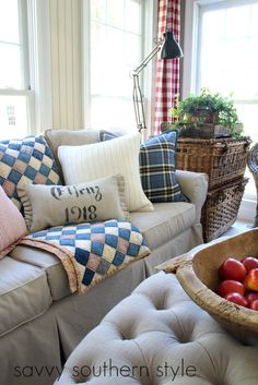 Savvy Southern Style: Mad For Plaid and More in the Sun Room