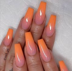 The most popular Coffin Nails Designs come. You can draw great inspiration from each of these beautiful nails! Get ready to save it all! Orange Ombre Nails, Orange Acrylic Nails, Coffin Nails Ombre, Best Acrylic Nails, Glitter Nails, Orange Nail Designs, Short Nail Designs, Acrylic Nail Designs, Nail Art Designs