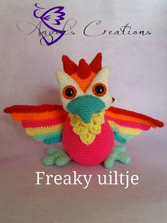 "Amigurumi Freaky Little Owl - Free Crochet Pattern Available in English and Dutch - PDF Format click ""download"" here: http://www.ravelry.com/patterns/library/uiltje-freaky-little-owl"