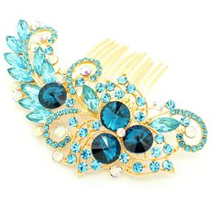 Vintage Style Encrusted Turquoise Gold Clear Diamante Crystal Gem Hair... (€18) ❤ liked on Polyvore featuring accessories, hair accessories, decorative combs, silver, jeweled hair clips, hair comb, gold comb, hair clip comb and jeweled hair accessories