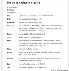 EXO as an exchange students