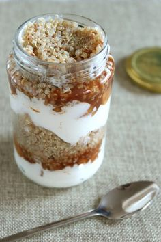 << YES!! Never thought of having quiona as a treat! >> Cinnamon apple quinoa parfait.