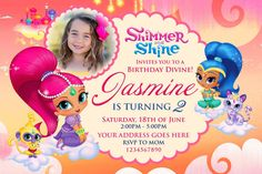 Shimmer and Shine Invitation, Shimmer and Shine Party, Shimmer and Shine Birthday, Shimmer and Shine, FREE 4 x 6 Thank You Card  THIS IS A PERSONALIZE SERVICE: I will personalize the invite for you. You will receive a 300 dpi high resolution JPEG FILE emailed to you within 24 hours after order placement. I will make revisions until you are completely satisfied! ►►► HOW TO ORDER:◄◄◄  1. Add your item to cart.  2. Include all your party details in the notes to seller section when ordering: •…