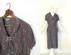 Vintage 1940s Dress / 40s Rayon Dress / Dot by SmallEarthVintage