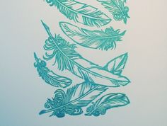 lino cut print feathers
