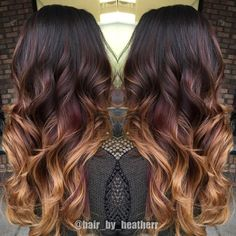 Dark chocolate to red to copper blonde ends! Beautiful balayage ombre! when i see all these fall hair color for brunettes balayage brown caramel it always makes me jealous i wish i could do something like that I absolutely love this fall hair color for brunettes balayage brown caramel so pretty! Perfect!!!!!