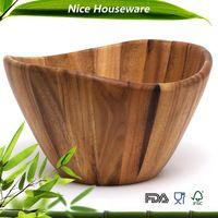 Natural color acacia wood Large Salad Wavy Bowl