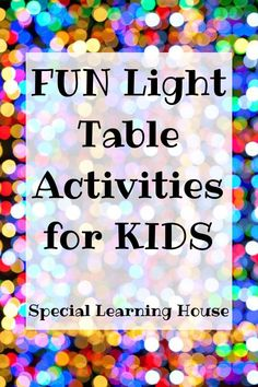 3 fun projects of light tables for children – Special Learning House – Wanderlust Sensory Activities For Autism, Autism Learning, Halloween Activities For Kids, Letter Activities, Spring Activities, Summer Activities For Kids, Preschool Activities, Table Activities For Toddlers, Dinosaur Activities