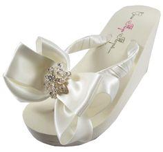 371442995 Bridal Flip Flops  Vintage Flower bow  Ivory Wedge Wedding Flip Flops White  Flat Platform Rhinestone Bride heel bridesmaids gift Bling