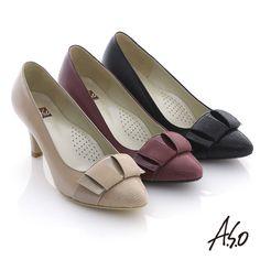 1580- 優雅通勤 全真皮立體結飾窩心跟鞋 黑 - 剩5/6/7.5--7.5cm