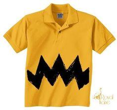 New Cartoon Charlie Brown Black Zig Zag Boys Polo Shirt Halloween Costume Childs | eBay