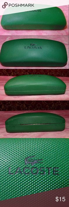 """NEW/UNUSED LACOSTE clam shell hard eyeglass case New/unused LACOSTE green clam shell hard eyeglass case (NO CLEANING CLOTH). Outside is textured.  Dimensions: 6.14"""" x 2.44"""" x 1.96""""  Fabric Content:NA Color:Green Lacoste Other"""