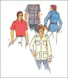 Simplicity 6956 Vintage Mens Shirt Pattern Size 44