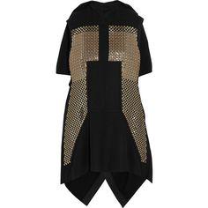 Rick Owens Sphinx sequin-embellished wool-blend vest (9.705 VEF) via Polyvore featuring outerwear, vests, black, rick owens, black vest, draped vest, black sequin vest y embroidered vest