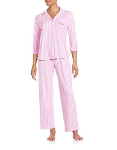 Karen Neuburger Striped Cotton-Blend Pajama Set Women's Pink X-Large