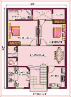HousePlan South Facing as Per Vastu 2bhk House Plan, Model House Plan, House Layout Plans, Family House Plans, Bedroom House Plans, House Layouts, Unique House Plans, Indian House Plans, Free House Plans