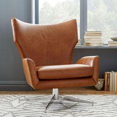 Hemming Leather Swivel Armchair - Saddle