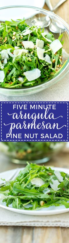An arugula parmesan pine nut salad that's ready in five minutes (really!), out-of-this-world delicious, and great for casual weeknights or entertaining. #simplesalad #arugula