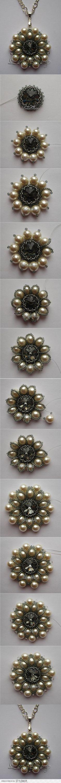 Aretes Cortos Perlas y Chaquira