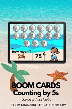 Do your students need practice with counting by 5s or counting nickels. Use these cards to give students the opportunity to build fluency with skip counting 5s. There are 3 types of questions: fill-in-the-blank, multiple choice and drag nickels into a sandcastle. This deck is perfect for home learning, online learning or hybrid learning. Use in the class as a whole group activity or in math centres. NO PREP, SELF-GRADING!