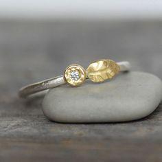Tiny Diamond Gold Leaf Stacking Ring  18k Gold by LilianGinebra, $122.00