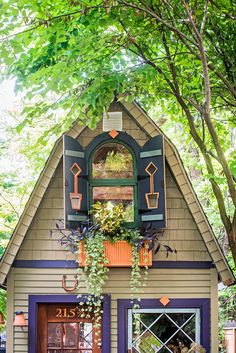 A homeowner with a magpie's eye and a restless imagination turns his garden into a space brimming with ideas shed design shed diy shed ideas shed organization shed plans Shed Windows, Backyard Sheds, Garden Sheds, Outdoor Sheds, Diy Garden, Garden Paths, Garden Landscaping, Window Planter Boxes, She Sheds