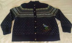 LL Bean Womens Cardigan Wool Sweater 1X Navy Blue Fair Isle Nordic Skier New #LLBean #Cardigan
