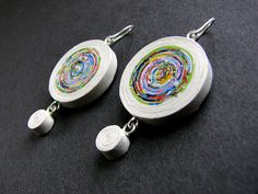 One-off paper dangle earrings *** upcycled handmade newspaper jewelry *** 1st wedding anniversary gift for her