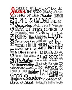 The Names of Jesus  INSTANT DIGITAL DOWNLOAD  High resolution digital file to print on your own. Can be printed in 5x7, 8x10, 11x14, 16x20 and