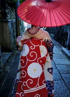 Japanese umbrella and kimono